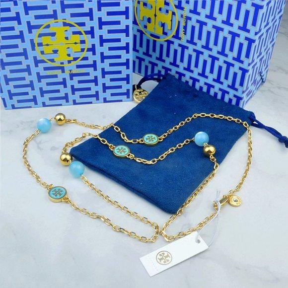 Tory Burch Jewelry - Tory Burch Blue Multi Pendant Necklace